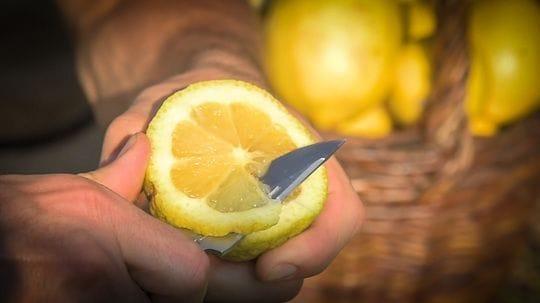 Citron de Menton, Tranche Citron de Menton, Crowdfunding Adrien Gannac, Citron et couteau